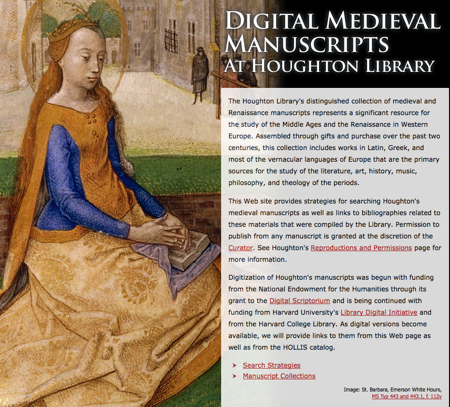 Screenshot of Digital Medieval Manuscripts at Houghton Library's collection description