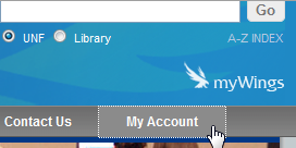 visual depiction of the library home page with link highlighted.