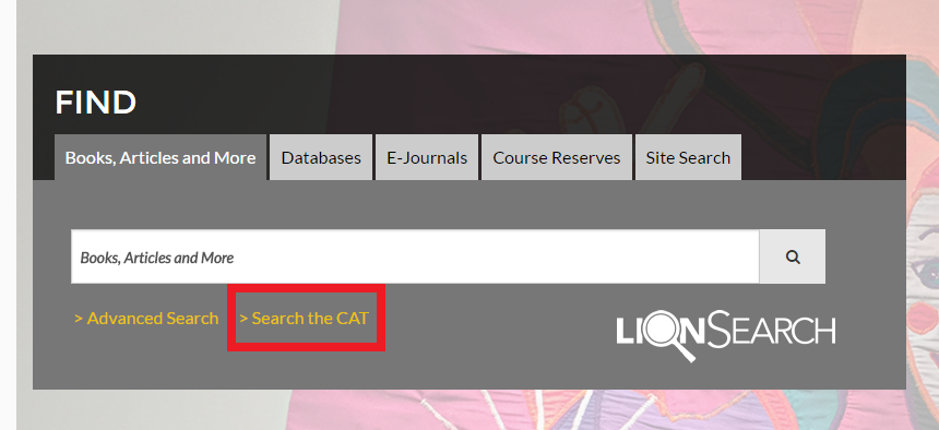 "Libraries search box with the ""search the CAT"" link highlighted"