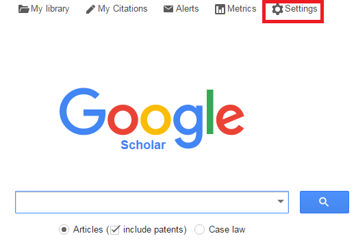 Google Scholar search screen with the settings option on the top right marked in red