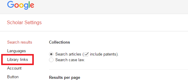 Google Scholar settings screen with the library links option highlighted in the left column.