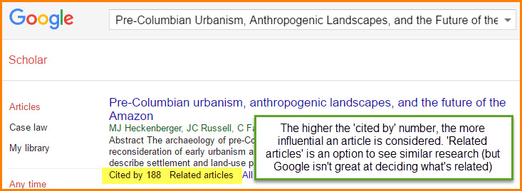 cited by indicates how many articles cite this one. related articles is similar research, try both.