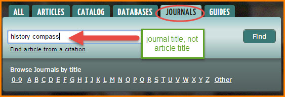 search journal title not article title in the journals tab
