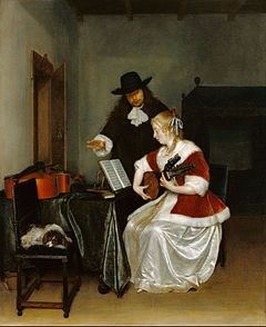 The Music Lesson by Gerard ter Borch, at the J. Paul Getty Museum