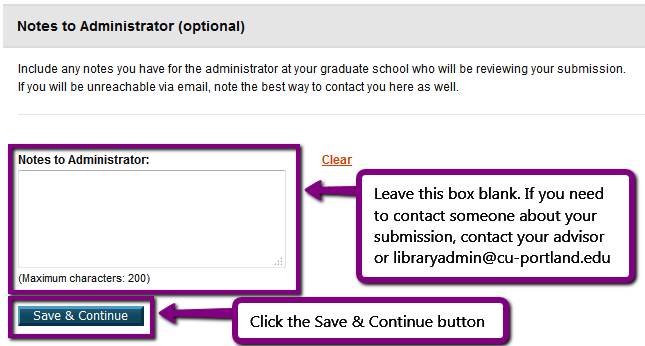 Screenshot. ProQuest ETD Administrator notes to administrator