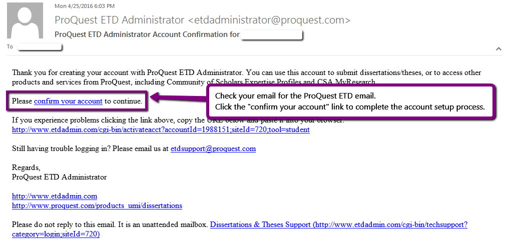 Screenshot. ProQuest ETD Administrator email confirmation