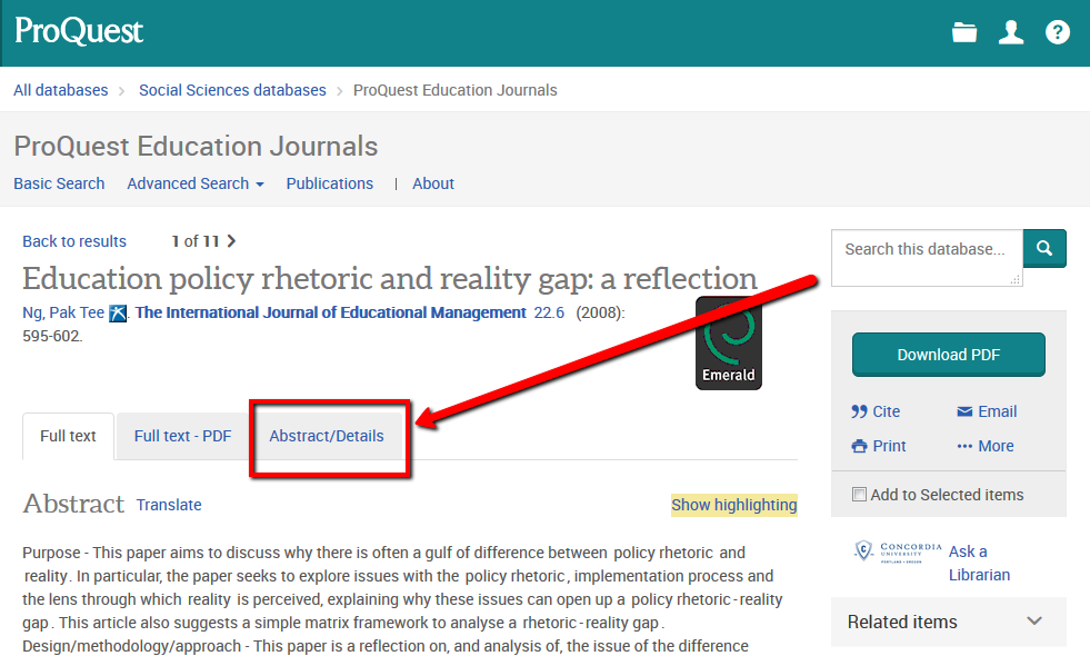 ProQuest record page - top of page