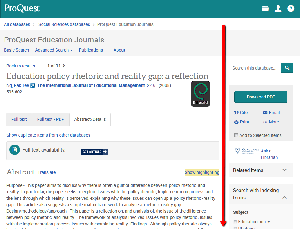 ProQuest record page - abstract/details tab