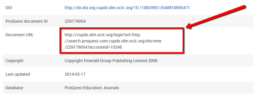 ProQuest record page - highlighting Document URL
