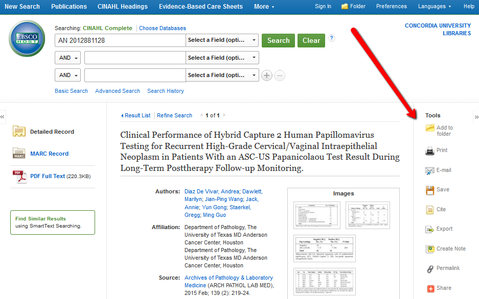 EBSCO record page - pointing to right side menu