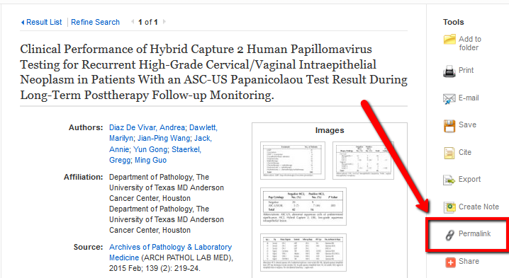 "EBSCO record page - pointing to ""Permalink"" link"