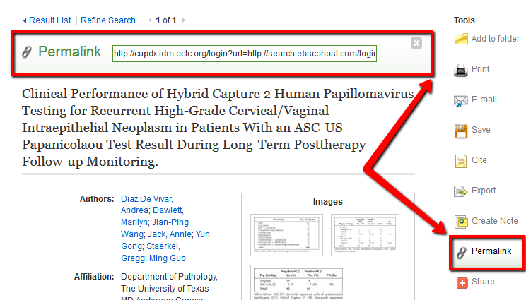 "EBSCO record page - showing the ""Permalink"" link and box that opens"