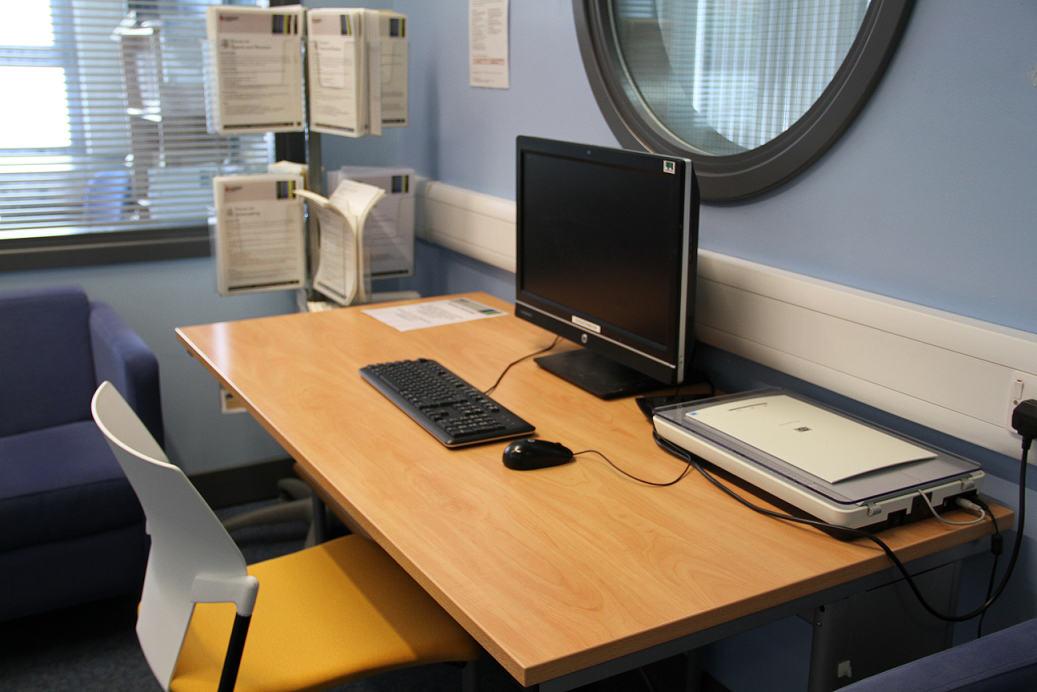 Picture of a computer with assistive technology software in the Learning Development Zone