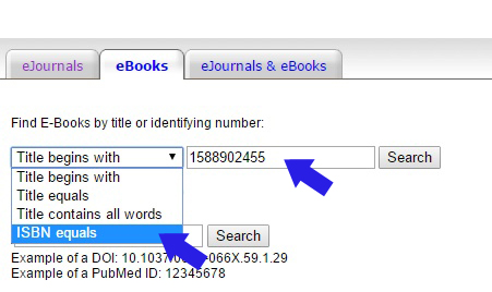 ebooks search screen