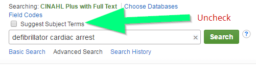 Screenshot of search box in CINAHL