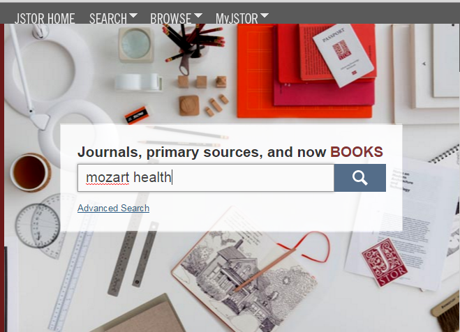 Screenshot of JSTOR search interface