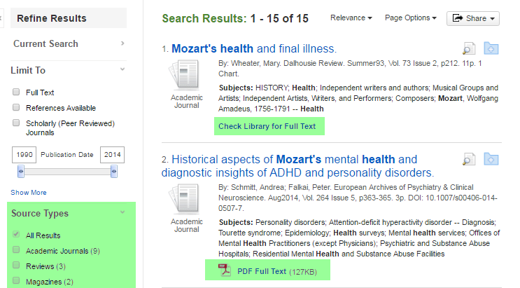 Screenshot of Academic Search Premier search results