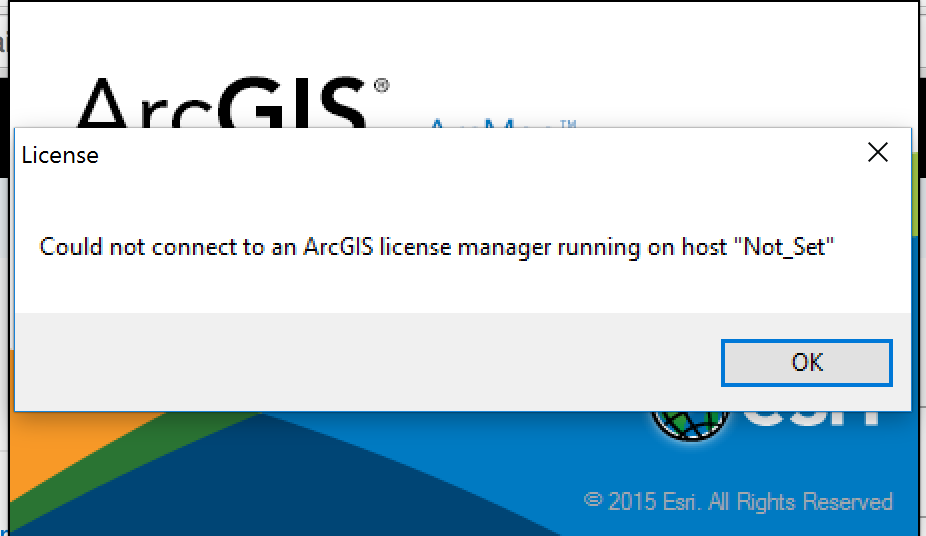 ArcGIS License Manager Not Set