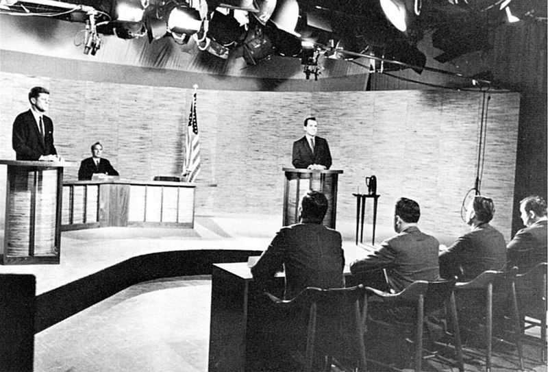 Photo of the second of the four presidential debates held during the 1960 presidential election. This debate took place in Washington D.C. at NBC's WRC-TV studios on October 7, 1960.