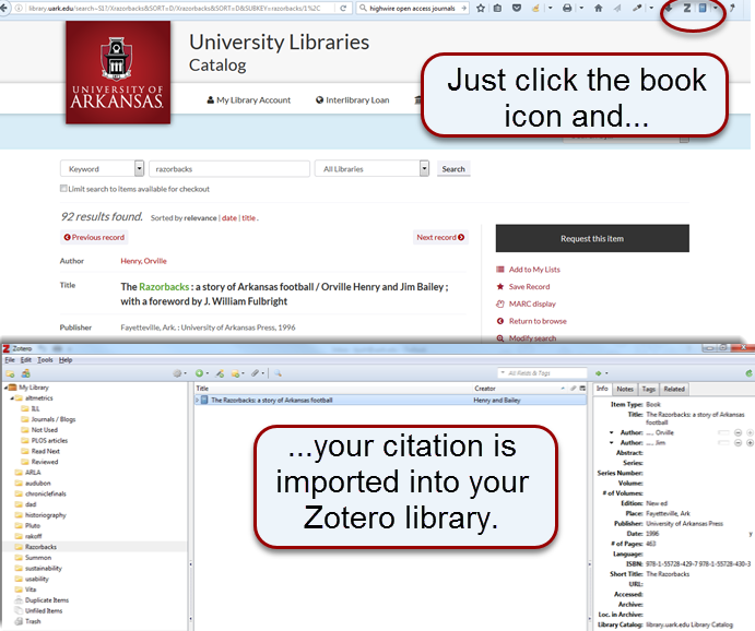 Click the book icon in your browser bar to add a cingle book to your Zotero library.
