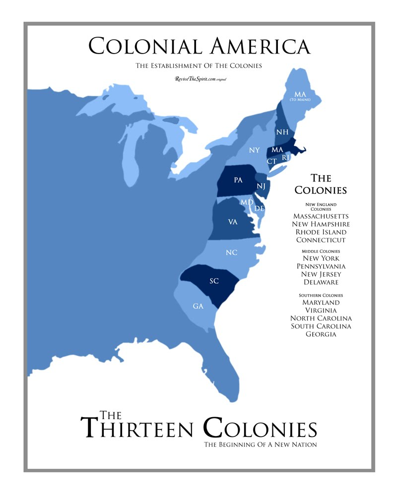 New England Colonies America And The Thirteen Colonies - Original thirteen colonies map