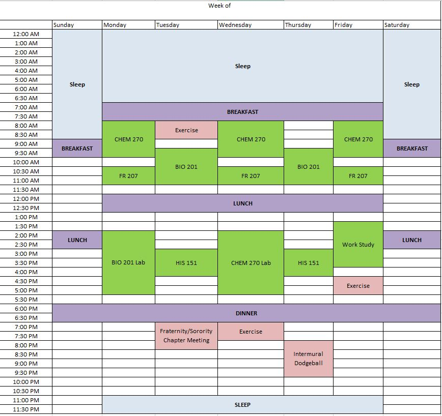 Making a Schedule - Time Management - U. Grant Miller Library at ...
