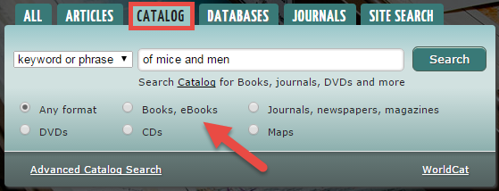 Screenshot of library website showing highlighted Catalog tab