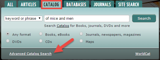Screenshot of library webpage showing Advanced Search option in lower left hand corner of search box