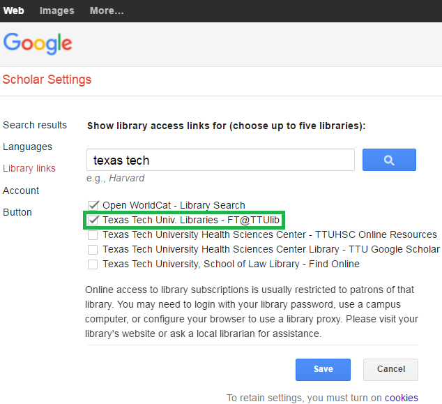 Google Scholar Library Search Results