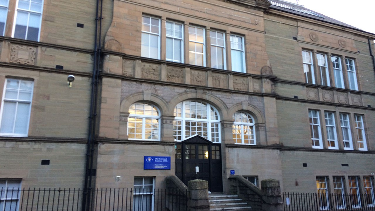 Photograph of outside of Support Hub, Old Technical Institute, University of Dundee