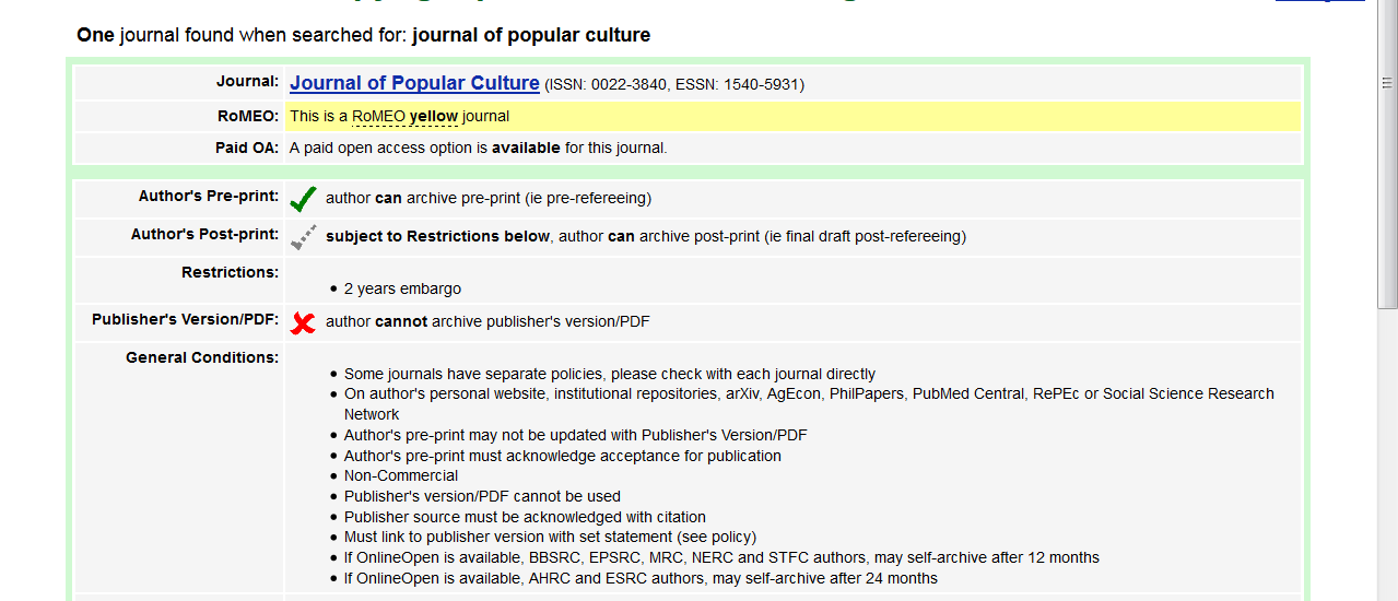 Journal of Popular Culture Sherpa/romeo screenshot