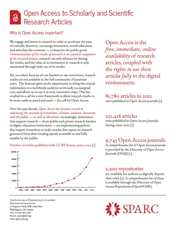 Open Access factsheet from SPARC