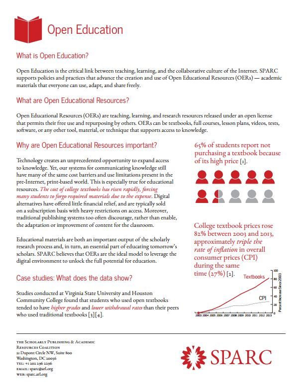 Open Education factsheet from SPARC