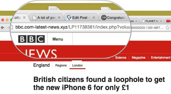 Screenshot of a URL for a site pretending to be BBC News