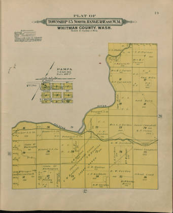 Whitman County Township Map, photo courtesy of WSU MASC