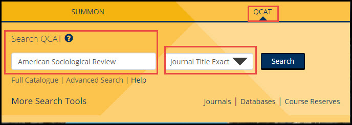journal title search in qcat for American Sociological Review