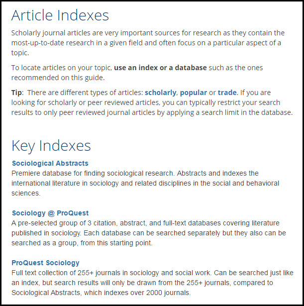article indexes section of the sociology library subject guide