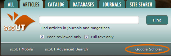Screenshot of scoUT search box on library website with Google Scholar option circled in lower right corner