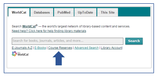Main search box with an arrow pointing to Course Reserve search option found below search text box.