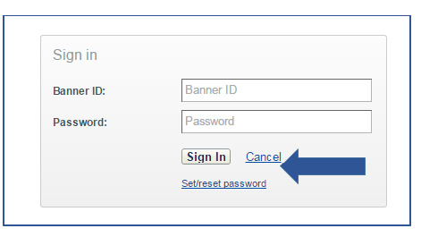 Pop-up window appears after clicking on Sign-In button. Provides a text box to input Banner ID and Password and a sign in or cancel button below these boxes.