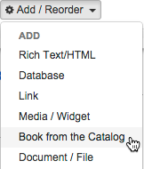Adding a Book from the Catalog asset.