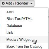 Adding Media / Widget items.