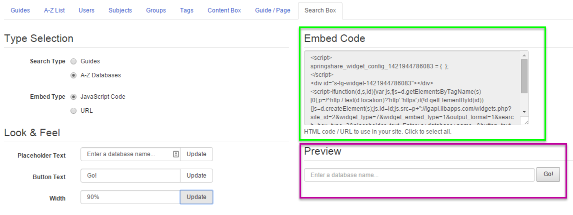 The widget builder screen, highlighting the embed code and preview areas