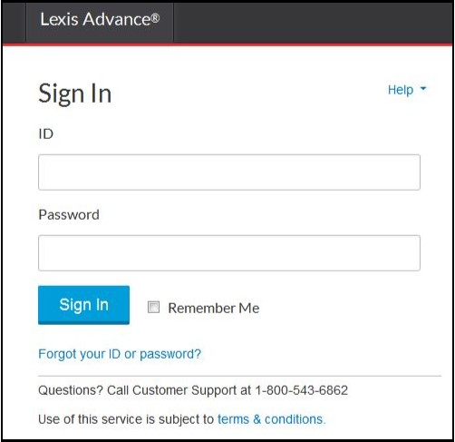 lexisnexis login screen