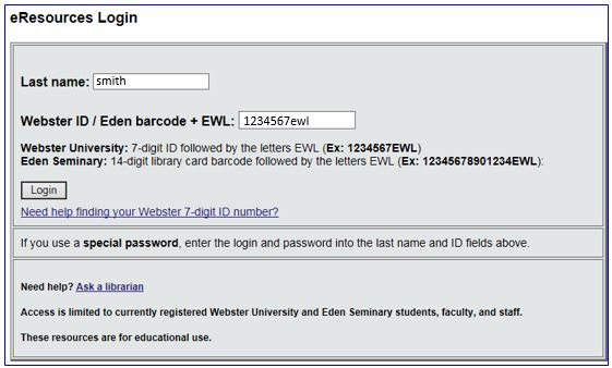 database login box