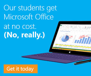 Our students get Microsoft Office at no cost. (No, really.)  Get it today.