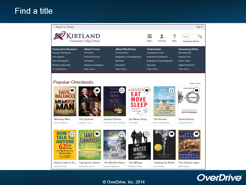 The Kirtland OverDrive collection includes ebook Fiction, ebook Nonfiction, Audiobooks, Streaming Video, and Featured collections such as popular checkouts, new additions, and recent returns.  Popular checkout titles include  Memory Man, The Quartet, Eat Move Sleep, Top Secret Twenty-One, Looking for Alaska,  The Fateful Lightning, and Essentialism in ebooks and Station Eleven, The Whites, How to Talk to Anyone,  The Murder House,  and The Rumor in audiobooks.