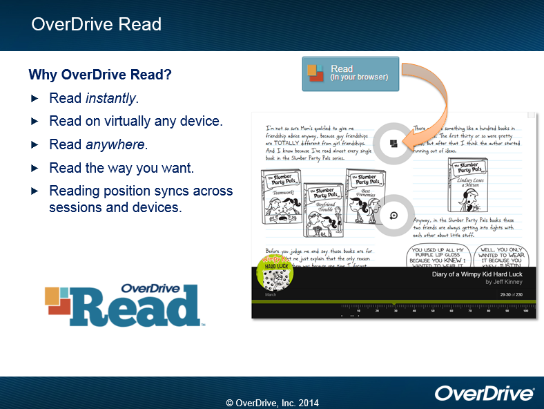 OverDrive Read Why OverDrive Read? Read instantly. Read on virtually any device. Read in your browser Read anywhere. Read the way you want.  Reading position syncs across sessions and devices.   OverDrive Read (OverDrive, Inc. 2014)