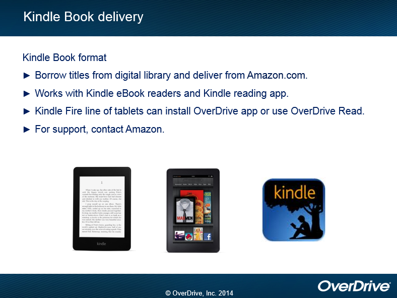 Enjoy the title Kindle book delivery:  For Kindle Book format borrow titles from digital library and deliver from Amazon.com.  OverDrive works with Kindle eBook readers and Kindle reading app.  The Kindle Fire line of tablets can install the OverDrive app or use OverDrive Read.  For support, contact Amazon.  (OverDrive, 2014)