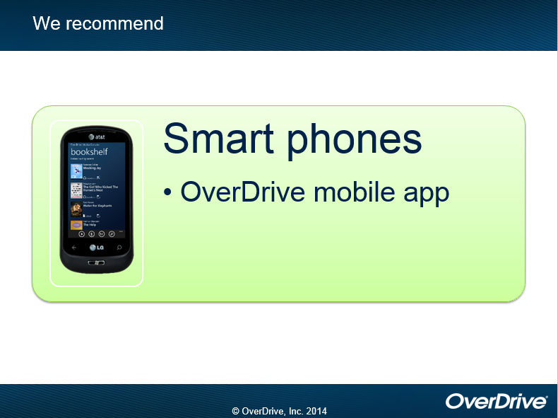 When using smart phones with OverDrive we recommend the OverDrive mobile app. copyright OverDrive, Inc. 2014